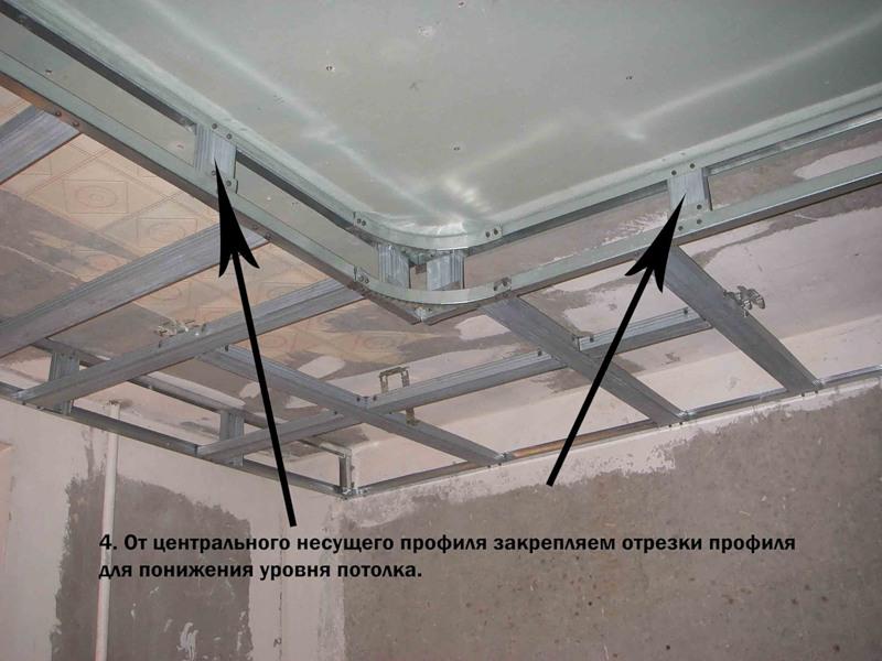 Двухуровневый потолок из гипсокартона с подсветкой своими